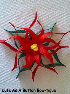 Poinsettia Ribbon Sculptured Hair Bow by JoHiracheta on Etsy Handmade Flowers, Diy Flowers, Fabric Flowers, Paper Flowers, Making Hair Bows, Diy Hair Bows, Bow Hair Clips, Ribbon Art, Ribbon Crafts