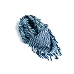 Weave It Triangle (Blue) by BRIANNEFAYE- Zest up your outfit with this fringe scarf. Little triangles are woven on hand operated machines with fringe on all four sides. $36 | Hucksley.com