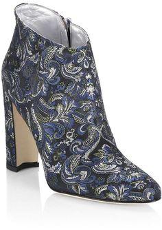Manolo Blahnik Women's Brusta 105 Embroidered Block Heel Booties