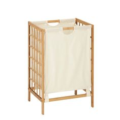 Honey Can Do knockdown bamboo hamper. Complete with a bamboo frame and cloth bag, this hamper looks as good as it is functional. The liner is machine washable and can easily be removed for cleaning. The square pattern on the bamboo frame adds stability and a contemporary flare. Unit assembles quickly and easily.
