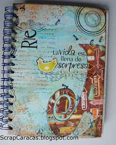 Cover of a notebook with mixed media.... love the intial