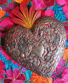 Mexican Milagros Heart // Red Sacred Heart with Charms //