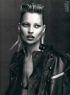 L.O.V.E. Kate Moss, Mohawk Quiff, Leather Clad, Chain Mail Piercings.