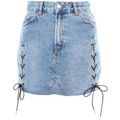 Topshop Moto Lace Up Denim Skirt ($44) ❤ liked on Polyvore featuring skirts, mini skirts, denim, topshop, mid stone, zipper skirt, zip skirt, blue mini skirt, denim skirts and button-front denim skirts