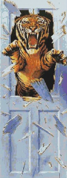 Instant Download! Tiger Attack Cross Stitch Pattern (8051) PDF format for easy printing https://www.etsy.com/shop/InstantCrossStitch