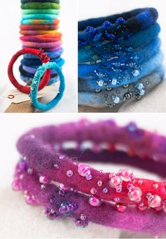 Beautiful felt bangles. Could add large hole polymer beads in addition to freeform beadwork.