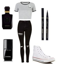 """Sans titre #94"" by farah-ihssane ❤ liked on Polyvore featuring Topshop, WithChic, Converse, Chanel and Keiko Mecheri"