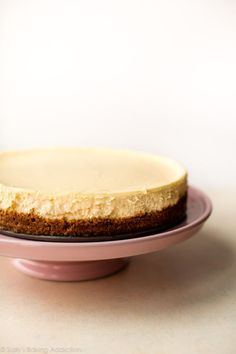 Look no further for a creamy and smooth classic cheesecake recipe! Paired with a buttery graham cracker crust, no one can deny its simple decadence. For the best results, bake in a water bath.