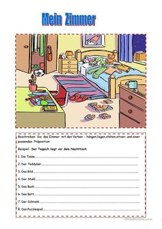 Im Haus - Wechselpräpositionen im Dativ Educational Activities, Activities For Kids, Handout, Learn Another Language, German Grammar, German Language Learning, Grammar And Vocabulary, Learn German, Foreign Languages