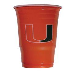 Siskiyou Ncaa Miami Hurricanes Sports Team Logo Plastic Game Day Cups