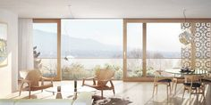 Interior visual for a multi-family house in Zollikon designed by HDPF Architects