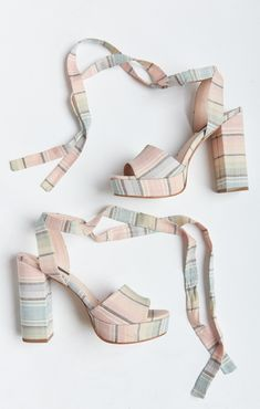 Steve Madden X Mumu Exclusive ~ Jacinta Wrap Up Heel ~ Nevada Stripe Boho Shoes, Striped Shoes, Smoking Slippers, Cute Shoes, Ankle Booties, Designer Shoes, Steve Madden, Going Out, Fashion Shoes