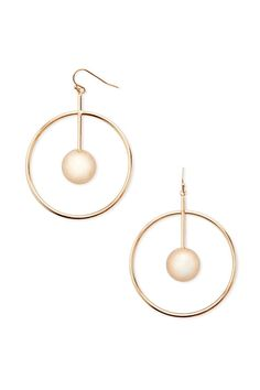 A pair of high-polish earrings featuring a hoop encasing a drop bar with a ball end and a fish hook closure.