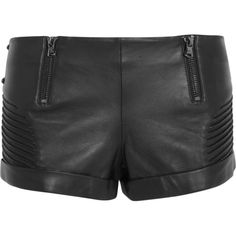Pierre Balmain Leather shorts ($461) ❤ liked on Polyvore featuring shorts, bottoms, balmain, black, mid rise shorts, black stretchy shorts, black shorts, zipper shorts and black stretch shorts