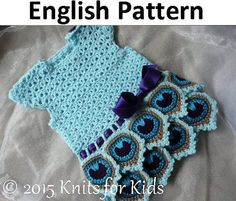 $7 English Crochet Pattern Dress  Peacock 0-18 by ElodyKnitsforKids