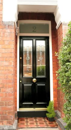 Black Victorian Front Door This is our first 'Grand Victorian' front door. Gloss black, it's in Prestwich, has diamond leaded glass and the biggest brass door knob we've ever fitted. House Front, Victorian Door, Black Composite Front Door, Victorian Front Doors, Black Front Doors, Best Front Doors, Front Door Handles, Exterior Doors, Exterior Door Designs