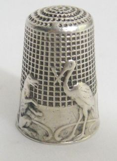 "Rare French sterling silver thimble with the theme of a Fable de Jean De La Fontaine ""Le Renard et La Cigogne""  and Art Nouveau clover pattern  From 1900's."