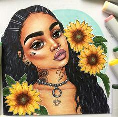 Kehlani fan art by @emzdrawings