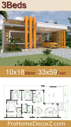 Small House Exteriors, Modern Small House Design, Modern House Facades, Modern Bungalow House, Simple House Design, Bungalow House Plans, House Front Design, Model House Plan, My House Plans