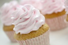 Fluffy Pure Vanilla Cupcake & Pink Whipped Vanilla Bean Frosting