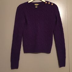 Ralph Lauren Rugby sweater Deep purple color with gold button detail on right shoulder. 90% merino wool, 10% angora. Length: 20 inches. Runs small. Ralph Lauren Sweaters Crew & Scoop Necks