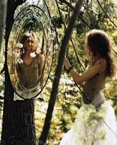 ~ ( Researching the Fantastical! www.EKaiserWrites...) ~ Girl in the forest mirror