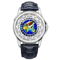 Patek Philippe World Time White Gold Mens Wristwatch | From a unique collection of vintage wrist watches at https://www.1stdibs.com/jewelry/watches/wrist-watches/