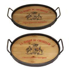 La Maison Du Chiarello Wood/ Metal Serving Trays (Set of 2) | Overstock.com