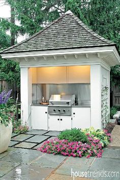 Grill storage creates a focal point