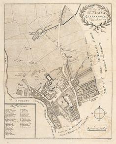 STOW, John. The Parish of St. James's Clerkenwell. #antique #London #plan