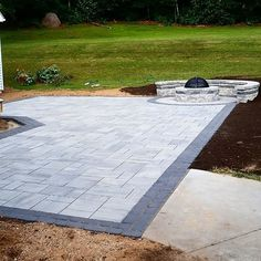 Beautiful Techo-bloc patio project completed today using 560 Sq ft Blu Shale grey, with a double vil - jdlandscapingllc Outdoor Living, Outdoor Decor, Outdoor Ideas, Outdoor Spaces, Shale Grey, Front Stairs, Sloped Backyard, Concrete Design, House Landscape