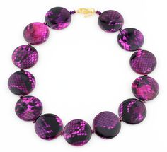 Purple Patterned Pearl Necklace, pink, purple and magenta composite Mother of Pearl, gold tone clasp by Gemjunky1 on Etsy