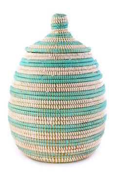 Aqua Stripe Lidded Basket - i think i could make this with any basket and some lanyard plastic-y/vinyl cording