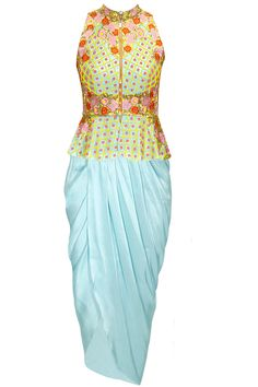 Sky blue embroidered peplum jacket with blue dhoti wrap skirt by PAPA DON'T PREACH available only at Pernia's Pop-Up Shop.