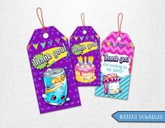 Shopkins tags Shopkins thank you tags Shopkins favor tags