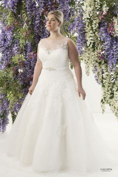 Corded lace appliqué and tulle ball gown skirt with beaded belt detail and tulle illusion neckline Plus Size Wedding Dress.