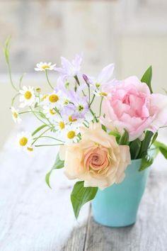 bouquet champêtre pastel
