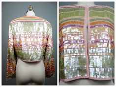 Pastel Sequined Cropped Open Top / Bright Coloured by braxae