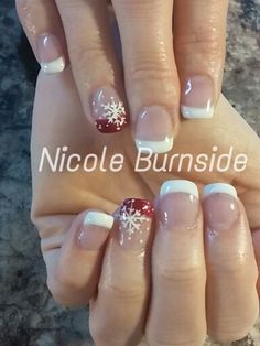Snowflake on French, natural nail