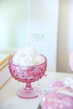 Powdered doughnut holes from a Mint To Be BFF Valentine's Day Party on Kara's Party Ideas | KarasPartyIdeas.com (22)