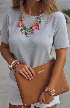 Grey Blouse I Statement Necklace I Cognac Oversized Clutch I White Shorts