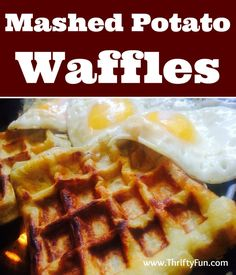 This is a guide about making mashed potato waffles. Mashed potatoes seem to be a staple food this time of year. The next time you have some left over, try turning them into delicious waffles. Mashed Potato Waffles --- chilifeuer General Recipes & D Mashed Potato Pancakes, Leftover Mashed Potatoes, Mashed Potato Recipes, Potato Cakes, Pancakes And Waffles, Yummy Waffles, Cheesy Potatoes, Baked Potatoes, Waffle Cake
