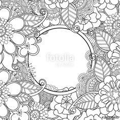 Vector Flowers And Leaves Hand Drawn Zentangle Style Circle Frame Doodle Art Decorative