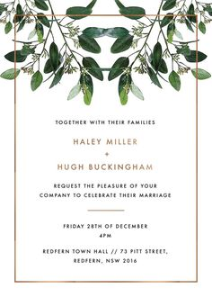 Garden Estate - Invitations. This stunning Garden Estate collection by local designer Haley Johnston is influenced by garden elements and simple fonts and would be perfect for those planning a modern garden ceremony. This Invitations card from the broader collection looks stunning when printed using Foil Stamped and we think it looks best using Paperlust Copper Foil.