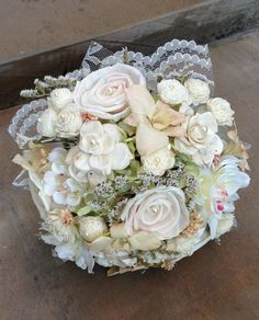 Mixed Vintage Garden Bridal Bouquet  Customizable by TheSunnyBee #etsy #weddings