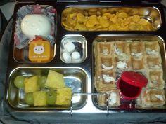 Waffle w/syrup, goldfish, bear-shaped boiled egg w/salt 'n pepper, pineapple-grape kabobs, mini marshmallows