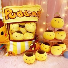 Kawaii Yellow Pudding Soft Plush Baby Toys Stuffed Animals With Small Chicken Egg Toy Kids Friends Christmas Gift Food Pillows, Cute Pillows, Plush Dolls, Doll Toys, Kawaii Room, Cute Stuffed Animals, Cute Plush, Kawaii Cute, Kawaii Stuff