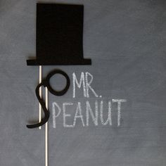 props on a stick - mr. peanut. $8.95, via Etsy. would be awesome for some photos of john and i