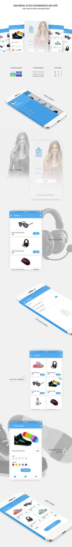 <p>Download Clean Material style eCommerce iOS App Free PSD. A set of 7 Free PSD Material style eCommerce app for iOS. The set includes a handful of the important user interface screens required for e-commerce fashion mobile application. Feel free to use it in your upcoming shopping application projects. Hope you like it. Enjoy!</p>