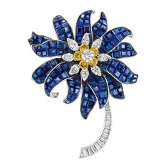 Platinum, Invisibly-Set Sapphire, Diamond and Yellow Diamond Flower Clip-Brooch, by Charles Vaillant